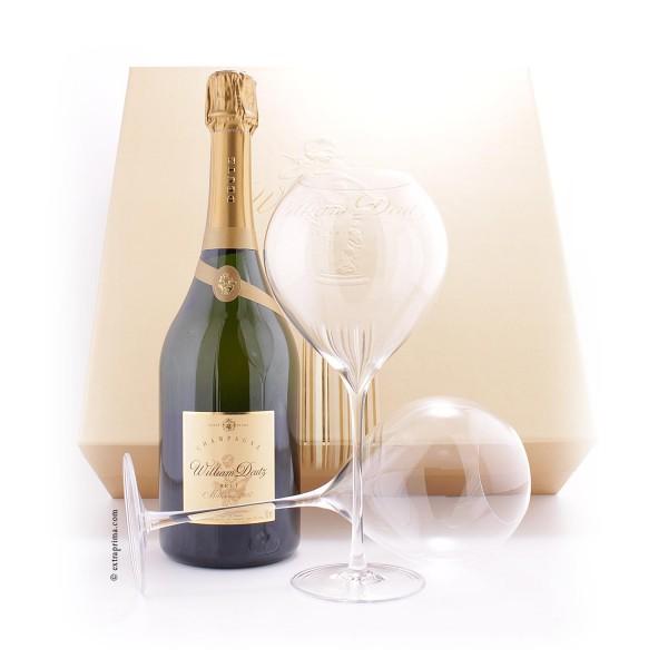 Geschenkbox Champagne 'William Deutz' 2007 mit 2 Gläsern